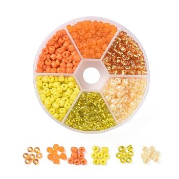 6/0 Perlas de semillas de vidrio, colores plateados y mate y opacos y ceilán, redondo, amarillo, 6/0, 4mm, agujero: 1~1.5 mm, 60 g / caja, aproximamente 600 unidades / caja