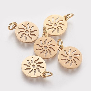 304 Stainless Steel Pendants, Flat Round with Sun, Golden, 14x12x1.1mm, Hole: 3mm
