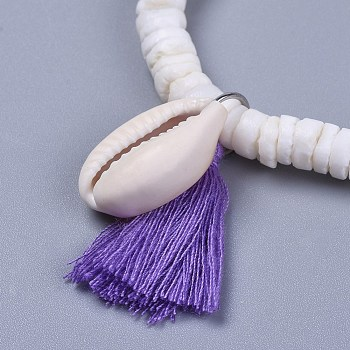 Blue Violet Cotton Thread Tassels Charm Bracelets, with Shell Beads and Cowrie Shell Beads, with Burlap Paking Pouches Drawstring Bags, Blue Violet, 2 inches(5~5.1cm)
