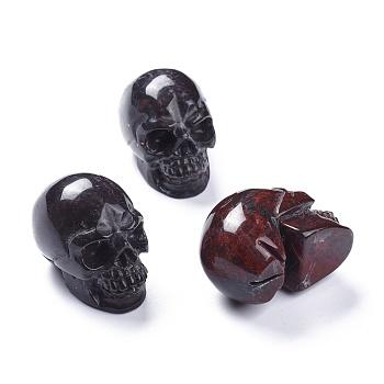 Хэллоуин натуральный кровавый камень украшения для дома, череп, 38~38.5x32~32.5x49~50 мм