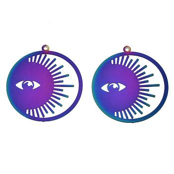 201 из нержавеющей стали филигранные подвески, травленые металлические украшения, кольцо с дурным глазом, радуга, многоцветные, 32.5x30x0.3 мм, отверстие : 1.2 мм