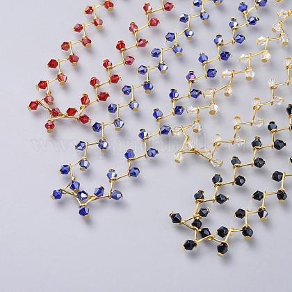 Glass Beads Choker NecklacesNJEW-JN02500-1