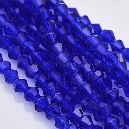 Faceted Bicone Glass Beads Strands X-EGLA-P017-4mm-08-1
