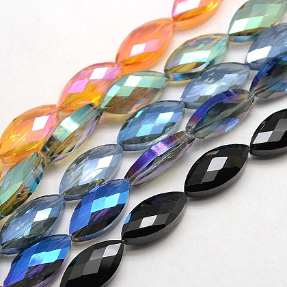 Abalorios de vidrio electrochapado facetados de ojos de caballoEGLA-F071-M-1
