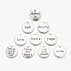 Tibetan Style Alloy Pendants, Flat Round with Word, Antique Silver, 20x2mm, Hole: 2mm; 10pcs/set