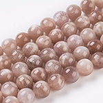 Natural Sunstone Beads Strands, Round, SandyBrown, 6mm, Hole: 1mm