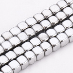 Electroplate Non-magnetic Synthetic Hematite Beads Strands, Cube, Platinum Plated, 4x4x4mm, Hole: 2mm; about 105pcs/strand, 15.7inches