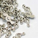 Cabochons Diamante de imitación de la aleación, charms flotantes, diy para medallones flotantes medallones de memoria viva de vidrio, nota musical, Platino, 12x5x2.5mm