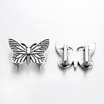 Tibetan Style Slide Charms, Lead Free & Nickel Free, Butterfly, Antique Silver, 18x24x2mm, Hole: 10x3mm