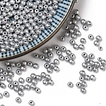 Czech Glass Beads, Round, Silver, 3mm, Hole: 0.8mm; about 2630pcs/bag