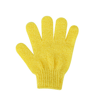 Yellow Nylon Scrub Gloves, Exfoliating Gloves, for Shower, Spa and Body Scrubs, Yellow, 185x150mm