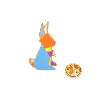 Mixed Color Creative Zinc Alloy Brooches, Enamel Pin, with Enamel and Iron Butterfly Clutches, Mixed Origami Animal Shape, Golden, Mixed Color, 16~26x12~29mm; Pin: 1mm; 9pcs/set