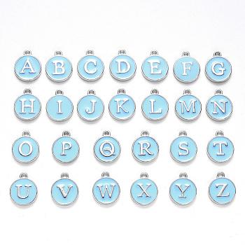 Anfangsbuchstabe a~z Alphabet Emaille Charms, flache runde Scheibe doppelseitige Charms, vergoldete emaillierte Pailletten-Legierungs-Charms, Licht Himmel blau, 14x12x2 mm, Bohrung: 1.5 mm, 26 Stück / Set