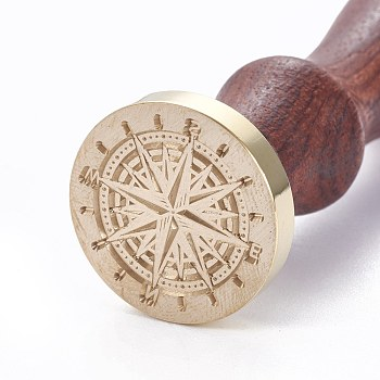 DIY Scrapbook, Brass Wax Seal Stamp and Wood Handle Sets, Compass Pattern, Golden, 8.9cm; Stamps: 2.55x1.4cm