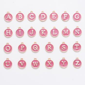 Golden Plated Alloy Enamel Charms, Enamelled Sequins, Flat Round with Alphabet, Letter A~Z, Turquoise, Flamingo, 14x12x2mm, Hole: 1.5mm; 26pcs/set