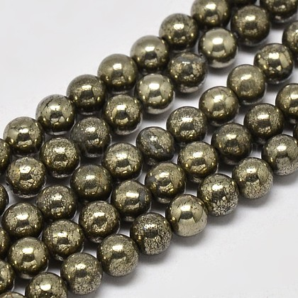 Natural Pyrite Round Beads Strands G-F197-10-8mm-1