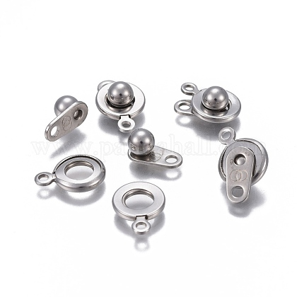 304 Stainless Steel Snap Clasps STAS-P236-34P-1