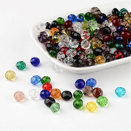 Faceted Rondelle Transparent Glass BeadsGLAA-R152-8mm-M1-1