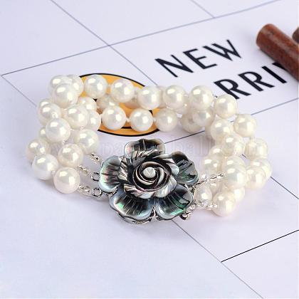Concha perla pulseras multi-filamentoBJEW-Q675-01A-1
