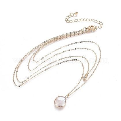 Collares escalonados de perlas keshi de perlas barrocas naturales chapadasNJEW-JN02323-1