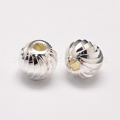 Crémaillère en laiton placage et placage de vide perles rondes onduléeKK-I600-8mm-S-RS-1