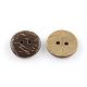 2 botones de coco redondas planas hoyos deBUTT-R035-004-2