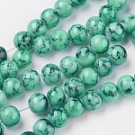 Spray Painted Glass Bead Strands, Round, SeaGreen, 8mm; Hole: 1.3~1.6mm; about 100pcs/strand, 31.4
