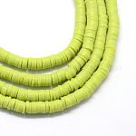 Abalorios de arcilla polimérica hechos a mano, disco / plano y redondo, abalorios heishi, verde amarillo, 8x0.5~1mm, agujero: 2 mm; aproximamente 380~400 unidades / cadena, 17.7