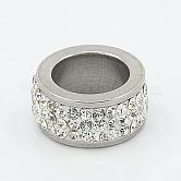304 abalorios de columna de acero inoxidable, con rhinestone de arcilla polimérica, color del metal del acero inoxidable, cristal, 13x6mm, agujero: 8 mm