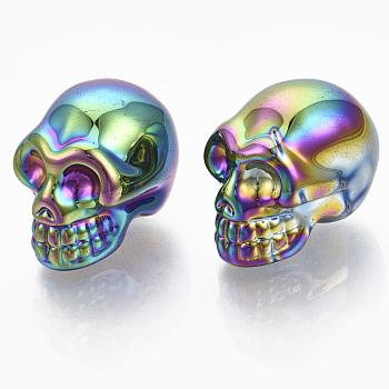 Гальваника k9 стеклянный дисплей украшения, череп, для Хэллоуина, красочный, 21.5x18.5x27 мм
