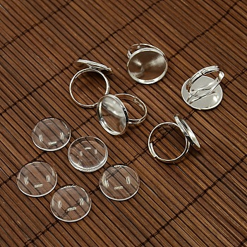 18mm Clear Domed Glass Cabochon Cover and Brass Pad Ring Bases for DIY Portrait Ring Making, Silver Color Plated, Ring Bases: 17mm; Tray: 18mm
