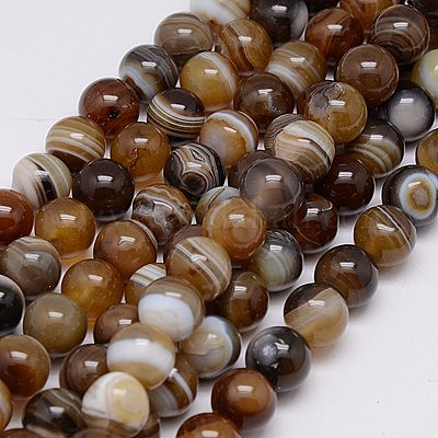 Natural 10mm 15 inch Brown striped agate plain round beads Genuine Gemstone