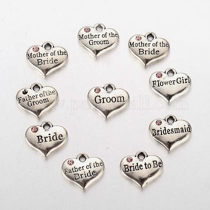 La fuente del partido de la boda de plata antigua rhinestone de la aleación del corazón de la palabra tallada charms de la familia de la muchacha de la boda de la florALRI-X0003-04-1
