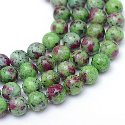 Round Dyed Natural Ruby in Zoisite Bead Strands G-R345-6mm-15-1
