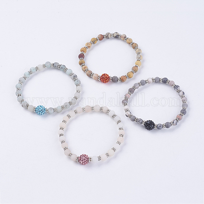 Frosted Natural Gemstone Stretch Bracelets BJEW-JB03540-1