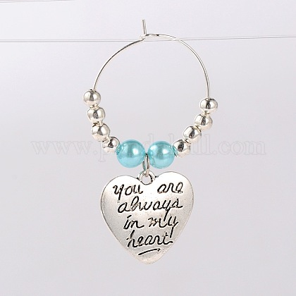 Tibetan Style Heart with Word You Are Always In My Heart Wine Glass Charms AJEW-JO00028-05-1