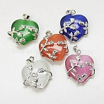Cat Eye Pendants, with Brass Findings, Heart, Platinum Color, Mixed Color, 25x21x9mm, Hole: 5x4mm