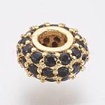 Perles environnementales en laiton avec zircone cubique de micro pave, sans plomb et sans cadmium, rondelle, noir, or, 8x4mm, Trou: 3mm