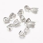 Iron Ice Pick Pinch Bails, Nickel Free, Platinum, 10.67x5.93x3.04mm, Hole: 4.13mm, Pin: 0.84mm