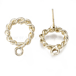 Alloy Stud Earring Findings, with Loop, Ring, Light Gold, 17.5x13mm, Hole: 2mm; Pin: 0.7mm