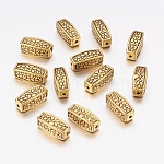 Lead Free & Cadmium Free Antique Golden Tibetan Style Alloy Oval Beads, Size: about 12mm long, 5mm wide, 5mm thick, hole: 1.5mm