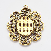 Alloy Pendant Settings Cabochon & Rhinestone Settings, Oval, DIY Findings for Jewelry Making, Lead Free & Nickel Free, Flower, Antique Golden Color, 61x49x2mm, Tray: 31x23mm, Hole: 3mm