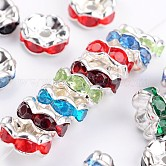 Brass Acrylic Rhinestone Spacer Beads, Wavy Edge, Silver Color Plated, Rondelle, Mixed Color, 8x3.8mm, Hole: 1mm