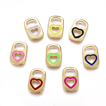 Brass Enamel Pendants, Real 18K Gold Plated, Long-Lasting Plated, Lock with Heart, Mixed Color, 16.5x10.5x1.7~1.9mm, Hole: 4.5mm