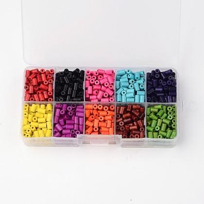 1 caja de colores de las columnas de diez cuentas de turquesa sintéticaG-X0005-01-1