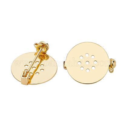 Flat Round Grade AAA Brass Base SettingsKK-BC0006-18G-NR-1