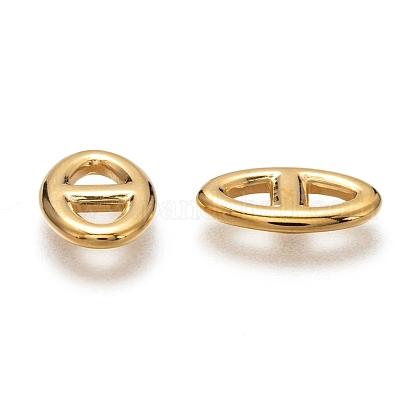 304ステンレススチール製フレームコネクター  オーバル  ゴールドカラー  14.5x9x2mm  内径:3.5ミリメートルSTAS-P254-05G-1