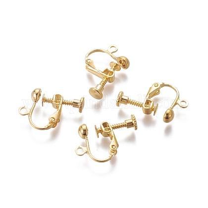 Rack Plated Brass Screw Clip-on Earring FindingsX-KK-P169-04G-1