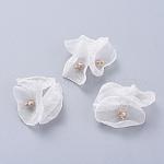 Accesorios de vestuario tejidos de tela de red hechos a mano, con pin de ojo de latón chapado en oro, flor, blanco, 25~31x4.5mm