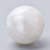 Abalorios de silicona ambiental de grado alimenticio, masticar cuentas para mordedores, diy collares de enfermería haciendo, redondo, nieve, 14~15mm, agujero: 2 mm